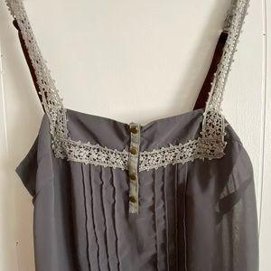 """Blue Kimchi"" grey with crochet detail dress, L"